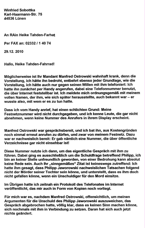 Offener Brief An Rechtsanwältin Heike Tahden Farhat Zk Manfred